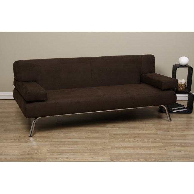 Merveilleux T Back Dark Brown Microsuede Sofa Bed