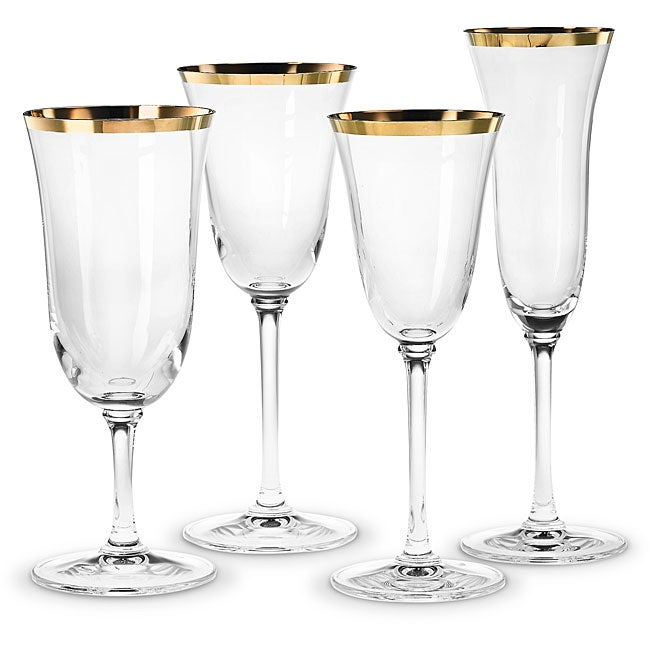 Vera Wang Gold Rimmed Classic Footed Wine Glasses Set Of