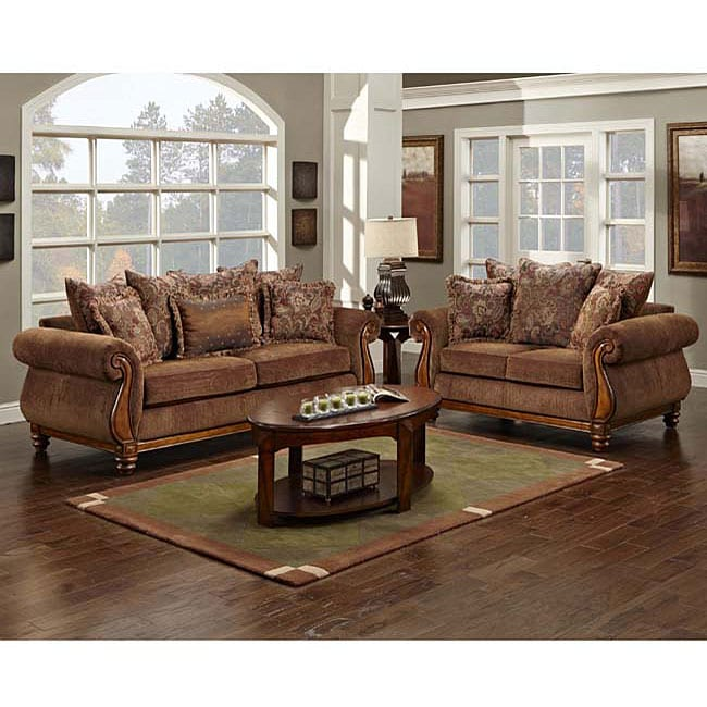Sherwood chocolate chenille sofa and loveseat set free Chenille sofa and loveseat