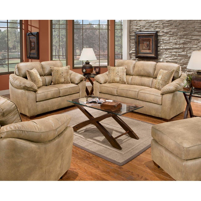 Sierra camel sofa and loveseat set free shipping today for Canape oxford honey leather sofa