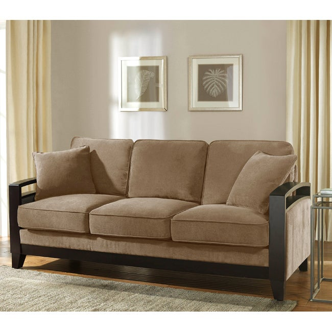 New Haven Cocoa Wood Arm Sofa Free Shipping Today