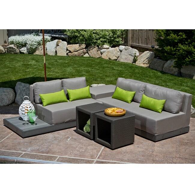 Charisma 4 Piece Modular Outdoor Seating Set With Sunbrella Fabric