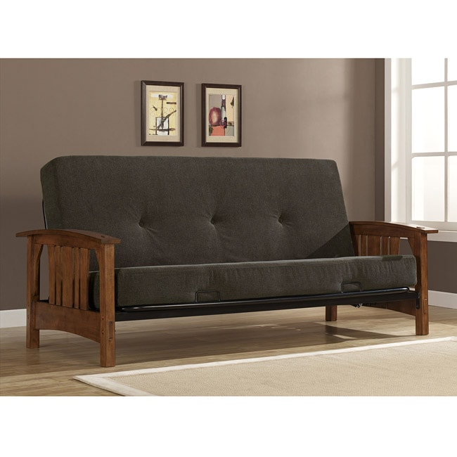 Wood Arm Brown Futon Sofa Set With Mattress