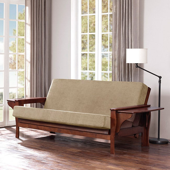 All Wood Futon Set With Table Arm And Camel Mattress Free Shipping Today Overstock Com