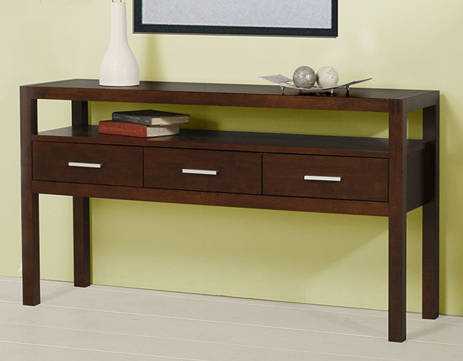 Beau Creighton Walnut Cherry 3 Drawer Console Table