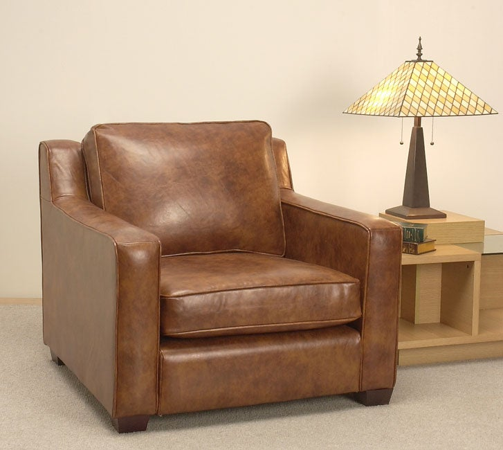 Merveilleux Magnolia Bomber Brown Leather Chair