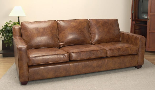 Magnolia Bomber Brown Leather Sofa Free Shipping Today