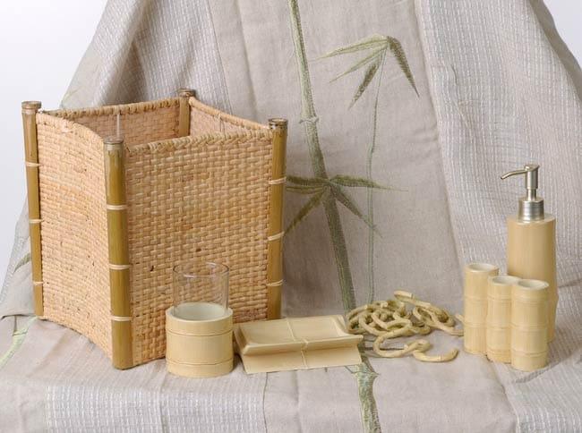Tiki Bamboo Bathroom Accessory Set With Shower Curtain