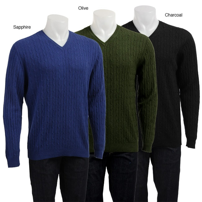 Shop Tehama Mens Cashmere Cable Knit V Neck Sweater Free Shipping