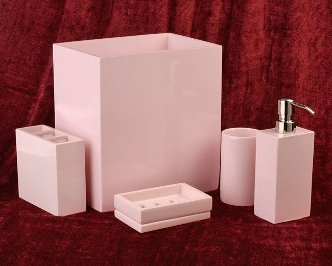 Adler pink lacquerware bath accessory set by croscill for Pink bathroom accessories sets