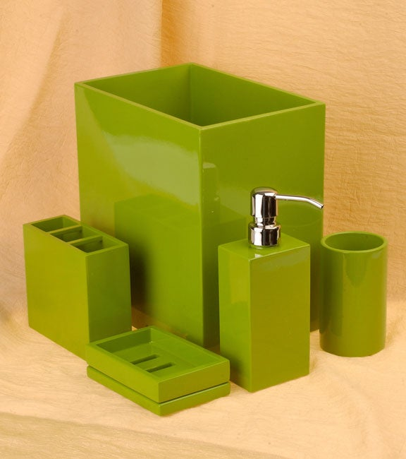 Jonathan Adler Apple Green Lacquerware Bathroom Accessory Set By Croscill