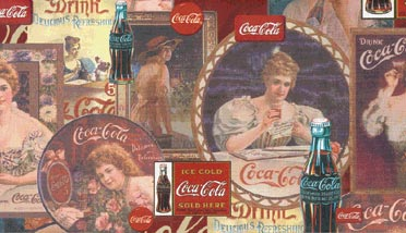Vintage coca cola wallpaper borders set of 2 free shipping on orders over 45 overstock - Vintage coke wallpaper ...