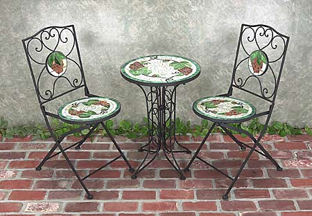 Shop Mosaic Tile Wrought Iron Bistro Set Free Shipping