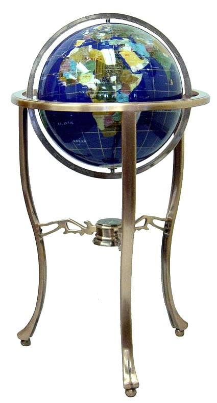 Lapis ocean 14 inch gemstone globe with floor stand free for 10 inch reflector floor lamp globe glass