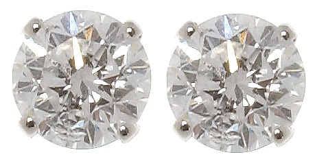 14k White Gold 3/4ct TDW Round Diamond Stud Earrings