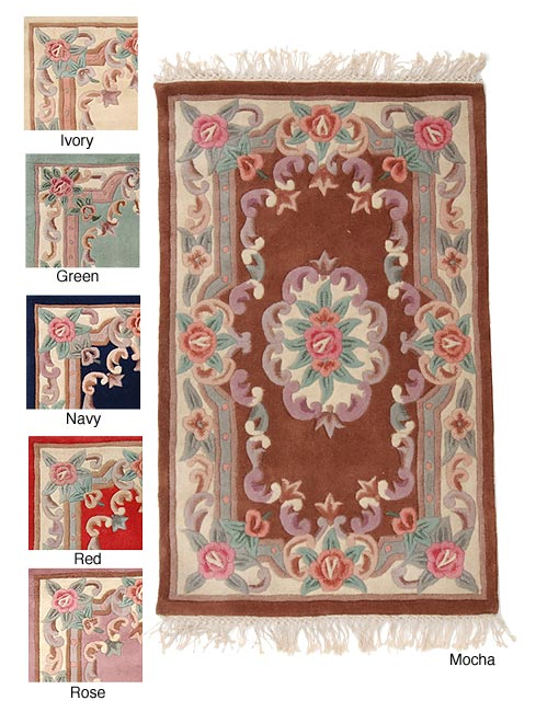 Aubusson Wool Rug and Runner Set