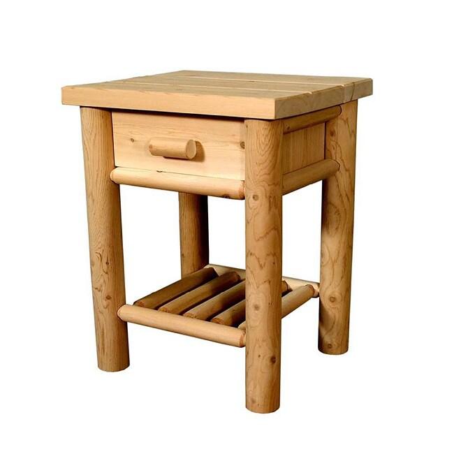 Rustic Log Adirondack Cedar Nightstand Table With Drawer