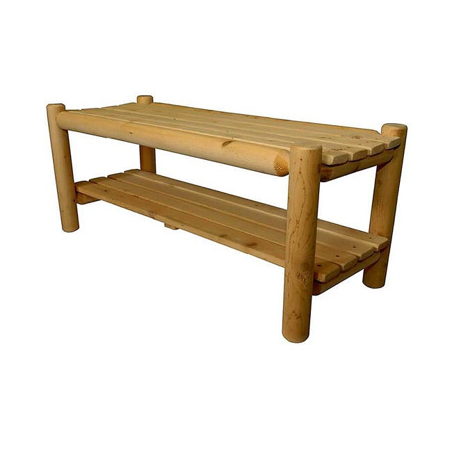 Shop Rustic Country Adirondack Cedar Bench With Shelf