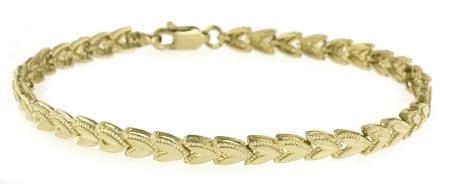 14k Gold 7-inch Leaf Bracelet
