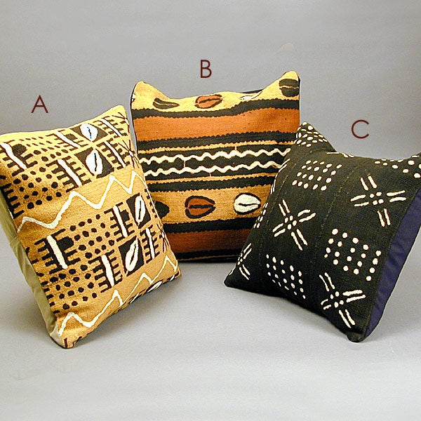 Handmade African Mudcloth Pillow Ivory Coast Free