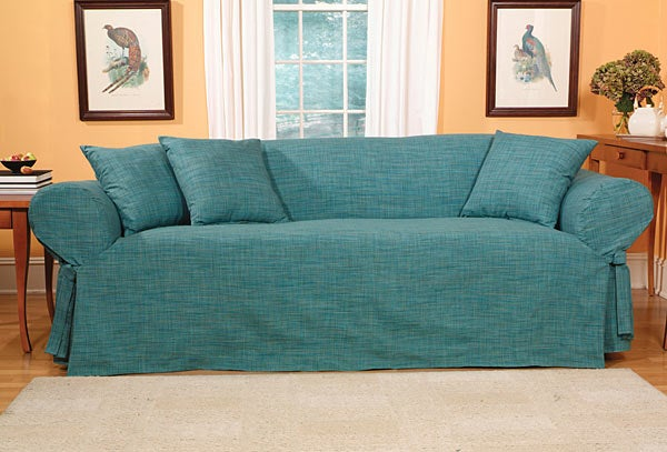 Shop Madras Solid Teal Slipcovers Sofa Free Shipping