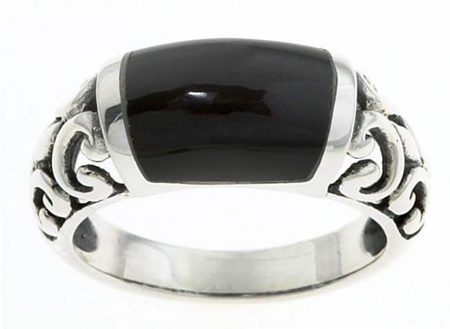 Journee Sterling Silver Created Black Onyx Filigree Ring