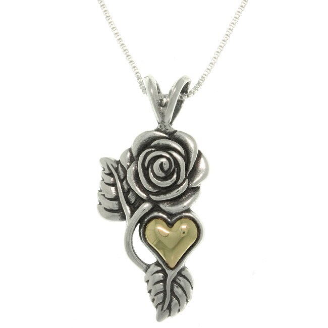 Carolina Glamour Collection Silver and 14k Gold Rose and Heart Necklace