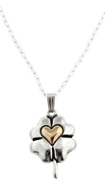 Carolina Glamour Collection 14k Gold/ Silver Four-leaf Clover Necklace