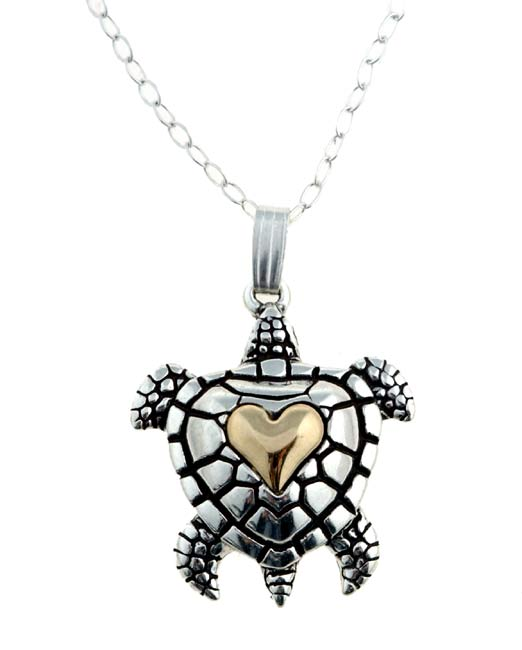 Carolina Glamour Collection Sterling Silver and 14k Gold Turtle Necklace