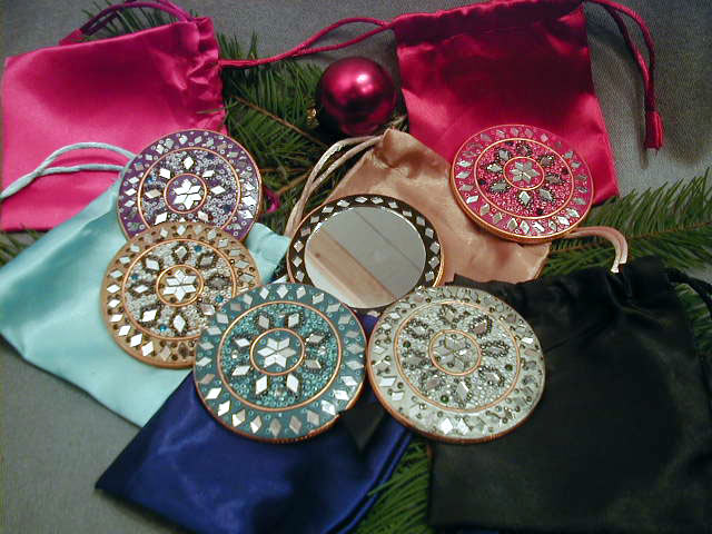Set Of 6 Purse Mirrors With Satin Pouches India Free