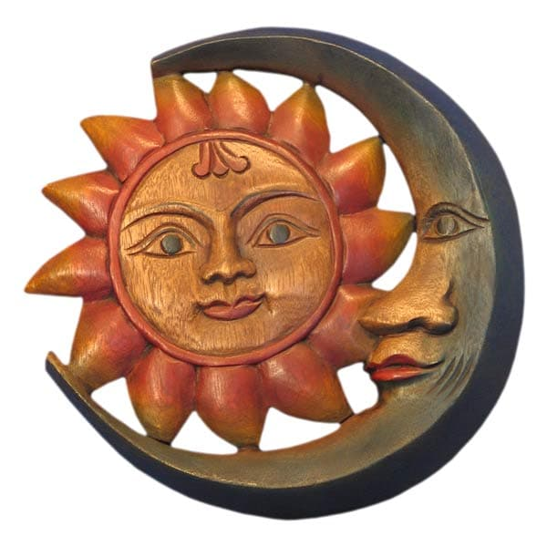 Wood Sun and Moon Wall Hanging