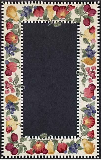 Siena Fruit Border Black Rug 4 10 X 7 10 Free Shipping