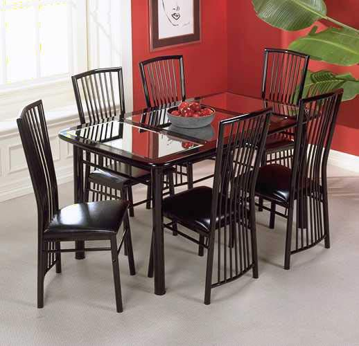 Manhattan Black Lacquer Mirrored Dinette Table Set