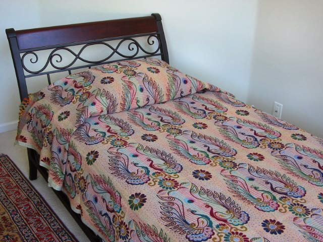 Jaipur Peacock Throw/ Bedspread (India)