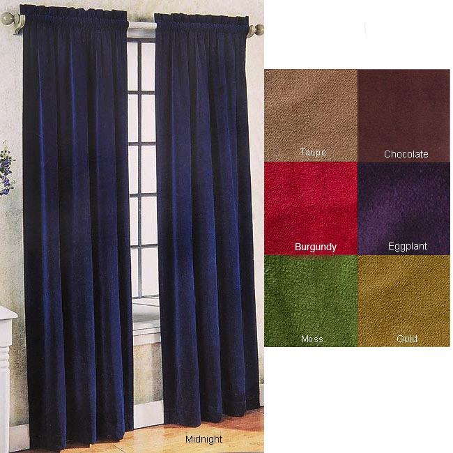 Velvet Pole Top Curtain Panel Pair