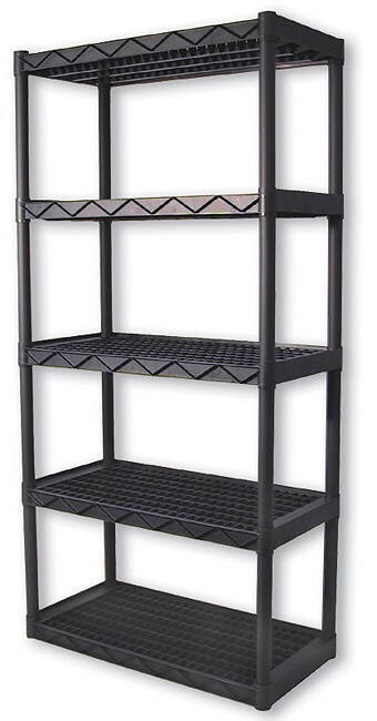 universal heavy duty plastic 5 shelf system free shipping today 954940. Black Bedroom Furniture Sets. Home Design Ideas