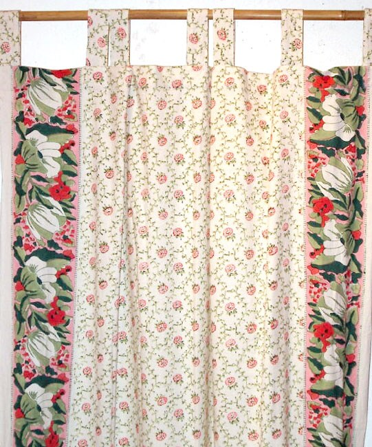 Pretty Floral Curtain Hand-block Printed (India) - Free Shipping ...