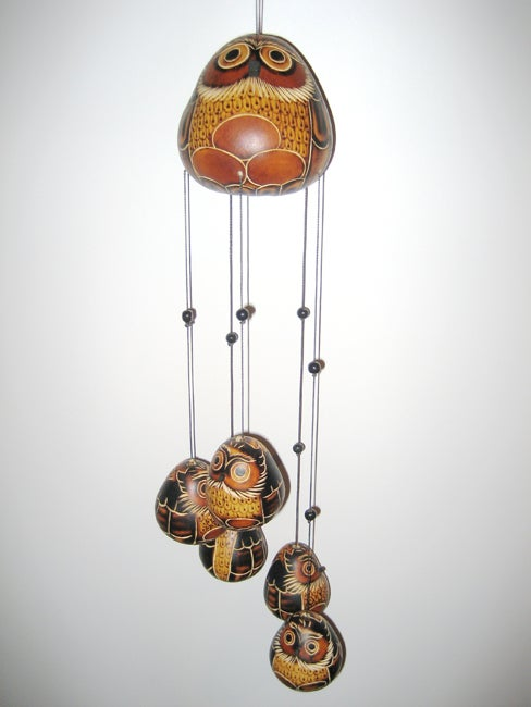 Shop Mate Gourd Owl Wind Chime Peru Free Shipping On