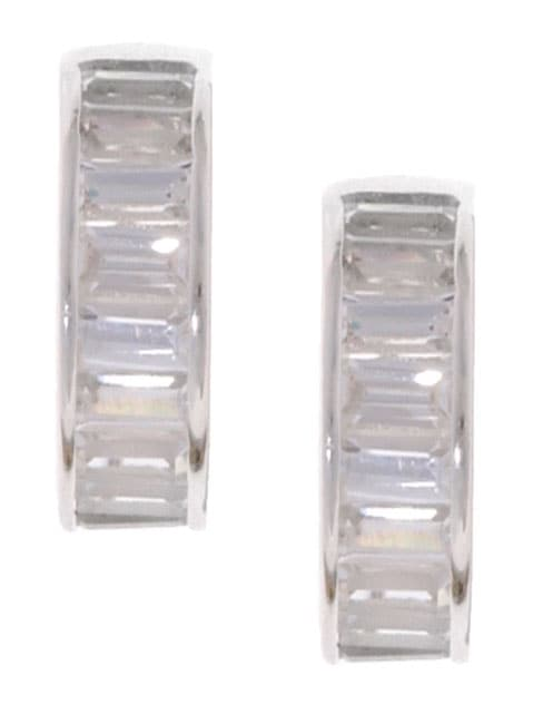 Journee Sterling Silver CZ Baguette Hoop Earrings