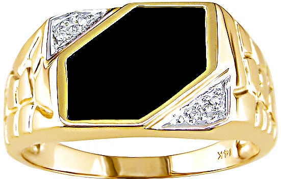 Miadora 14-kt. Yellow Gold Diamond Black Agate Ring - Thumbnail 0