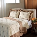 Lace Embroidered Cotton Chocolate 3-piece Quilt Set