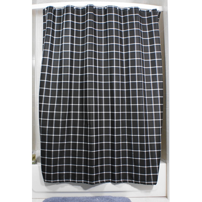 Lincoln Black Grid Shower Curtain - 13970314 - Overstock.com Shopping ...