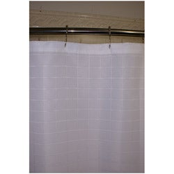 Lineation White Polyester Shower Curtain