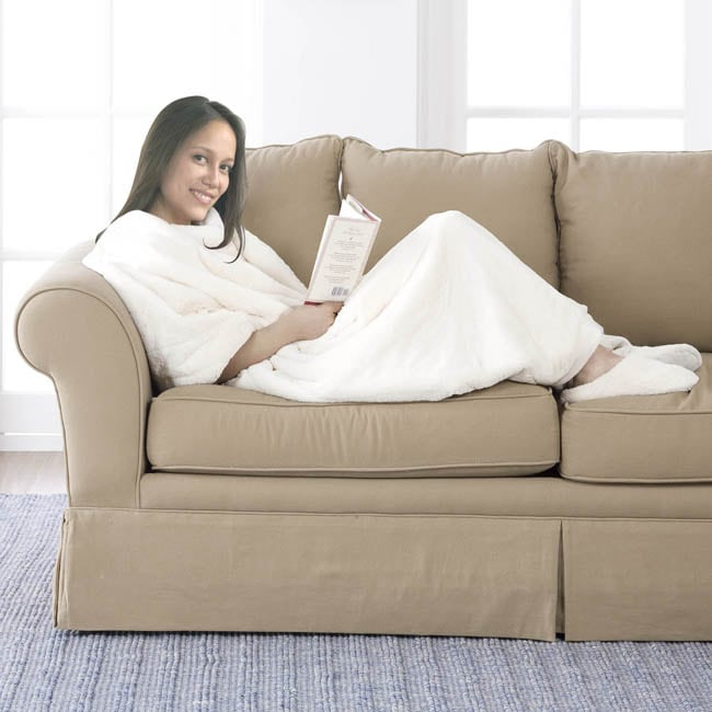 Long Ivory Faux Fur Throw and Slipper Gift Set