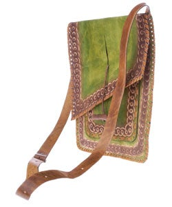 Green Embossed Leather Handbag (Colombia) - Thumbnail 1