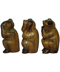 Hear/ Speak/ See No Evil Wooden Monkey Set - Thumbnail 1