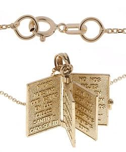 14k Gold Spanish Bible, Santa Biblia Religious Prayer Book Pendant - Thumbnail 1