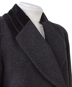 Alorna Long Wool Coat w/Velvet Collar & Cuffs
