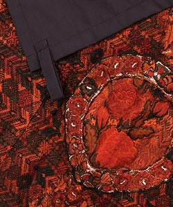 Red/Rust Embroidered Throw Blanket (Guatemala) - Thumbnail 1