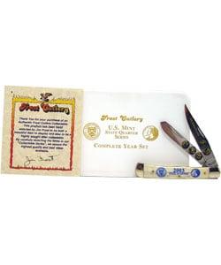 24k Gold Plated 2003 State Quarter Series & Knife Set - Thumbnail 1